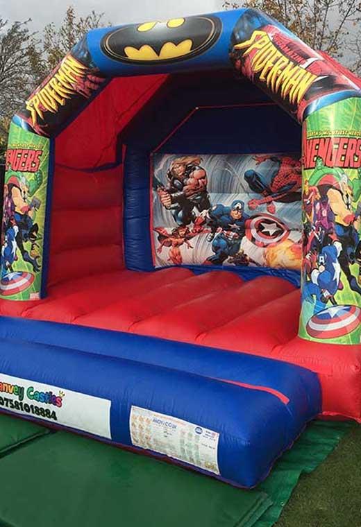 superhero medium bouncy castle essex rental hire